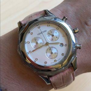 Swarovski pink adjustable wristband watch